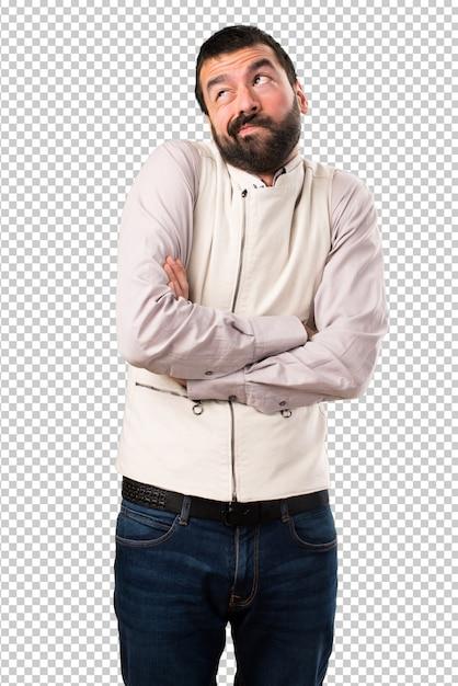 Handsome man with vest making unimportant gesture Premium Psd