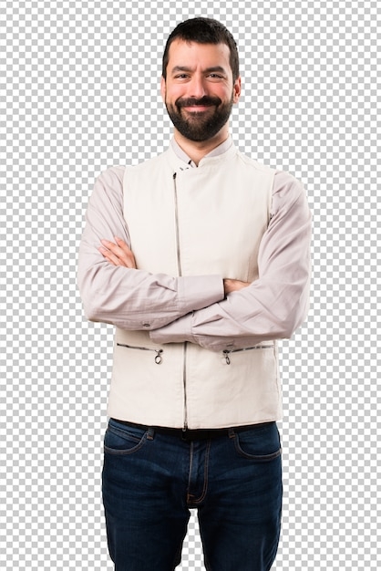 Handsome man with vest with his arms crossed Premium Psd