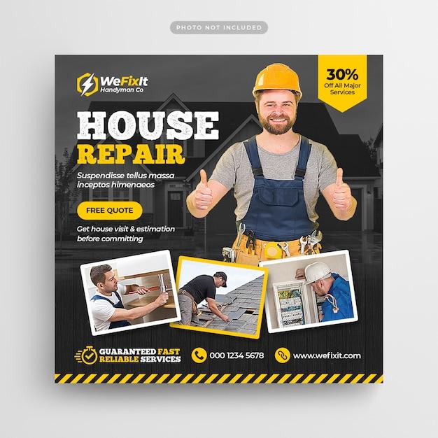 Handyman home repair flyer social media post & web banner Premium Psd