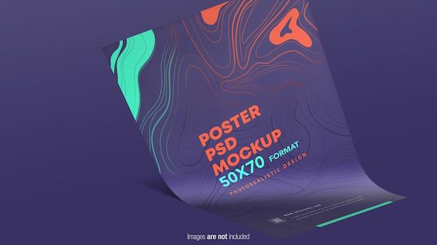 分離されたハンギングポスターモックアップ Premium Psd