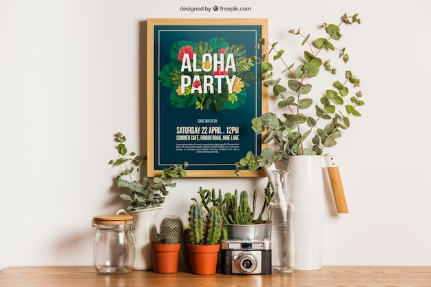 Hanging frame mockup with plants Free Psd