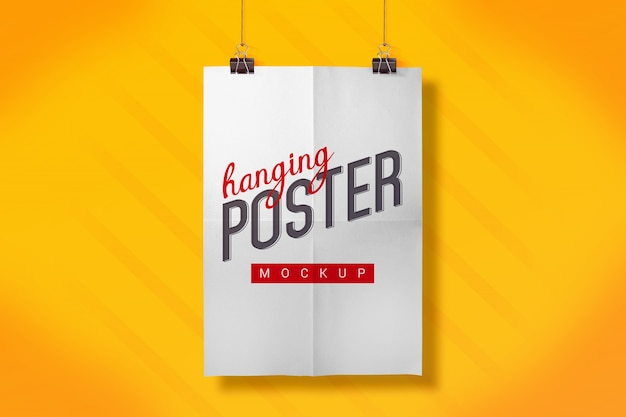 Hanging poster mock up Free Psd
