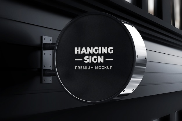 교수형 표시 이랑 야외 서클 네온 박스 블랙 프리미엄 PSD 파일