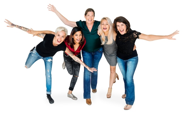 Happiness group of women arms stretched and huddle playful Premium Psd
