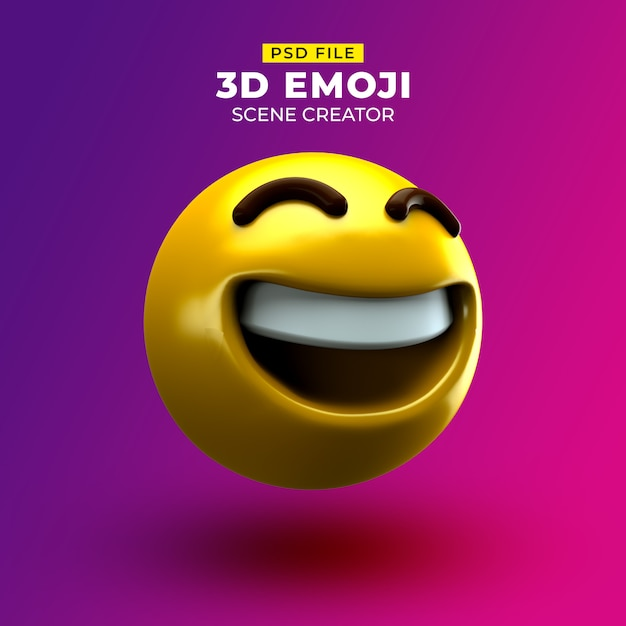 Happy 3d emoji with grinning face with smiling eyes Premium Psd