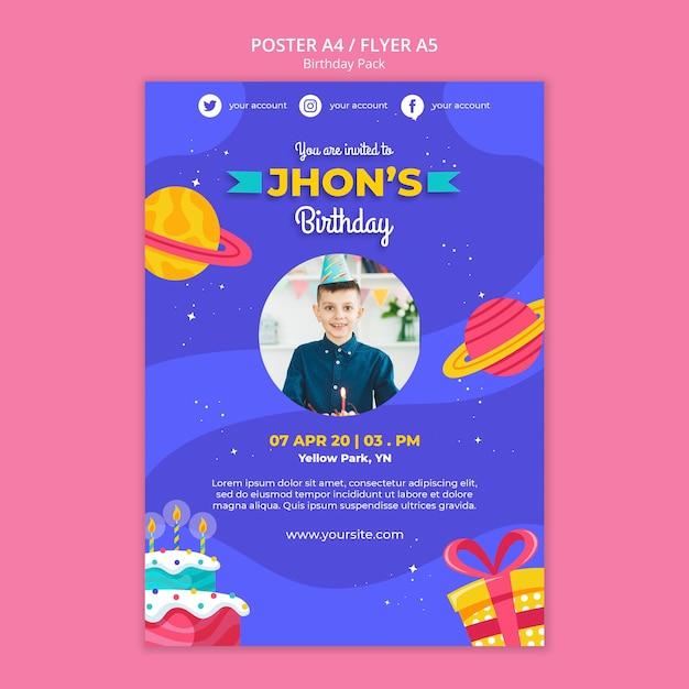 Шаблон плаката с днем рождения Бесплатные Psd