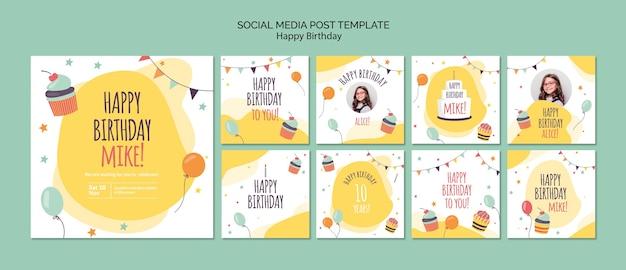 С днем рождения концепции социальных медиа пост шаблон Бесплатные Psd