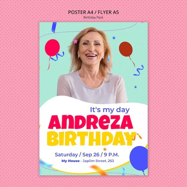 Шаблон флаера с днем рождения Бесплатные Psd