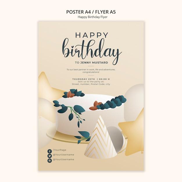 Free PSD   Happy birthday flyer template