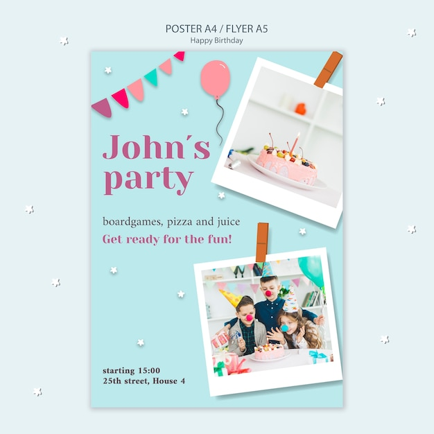 Happy birthday flyer with garlands and balloons Free Psd