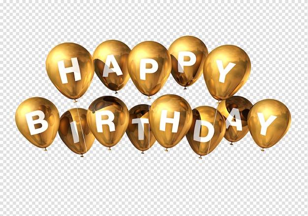 Happy birthday gold balloons Premium Psd