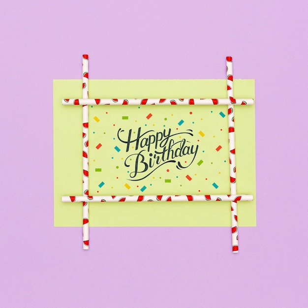 Happy birthday greeting card with mock-up Free Psd