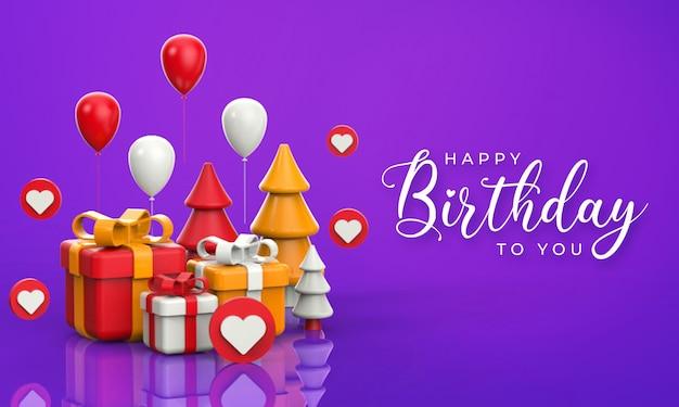 풍선 및 상자 3d 렌더링 삽화와 함께 생일 축하 문자 프리미엄 PSD 파일
