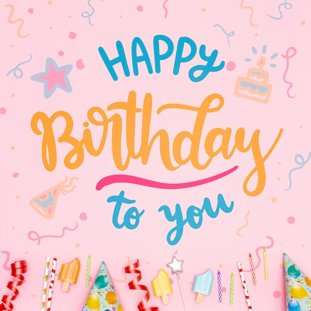 Happy birthday message with festive background Free Psd