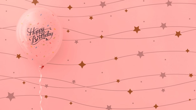 Happy birthday pink balloons with string stars Free Psd