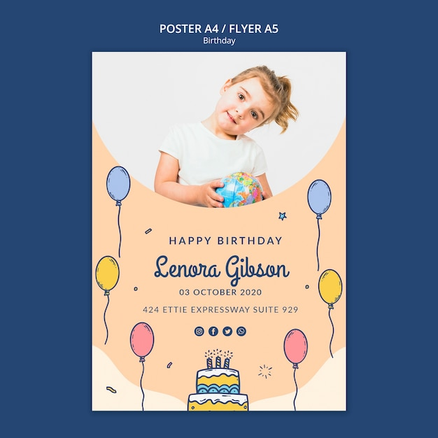 Happy birthday poster template with photo   Free PSD File