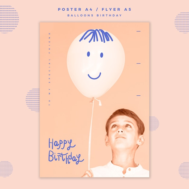 Happy birthday poster template   Free PSD File