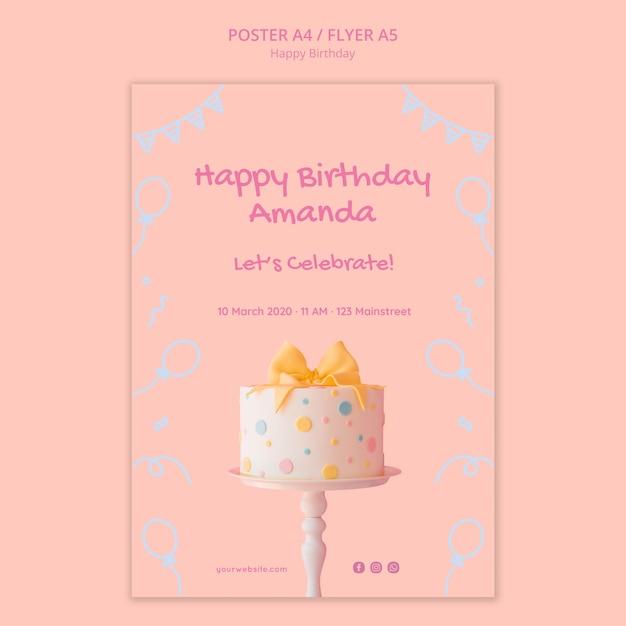 Плакат с днем рождения Бесплатные Psd