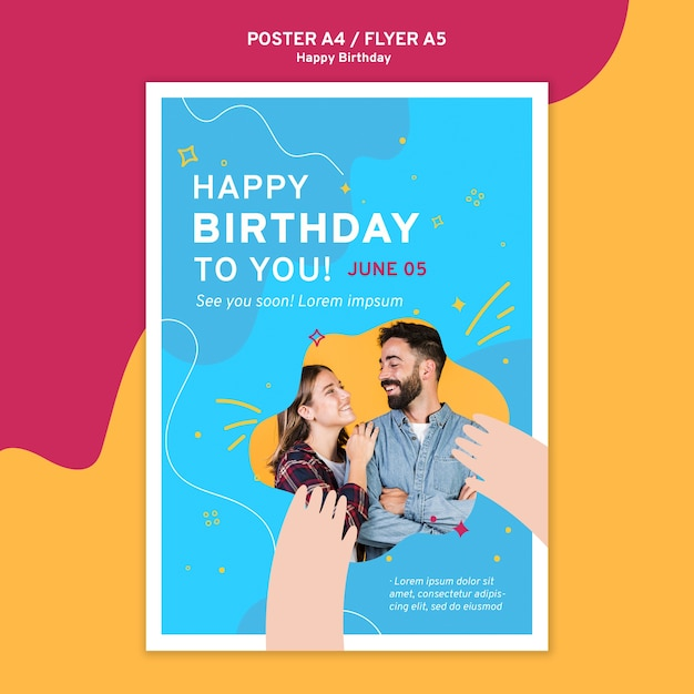 お誕生日おめでとうポスターテンプレート 無料 Psd