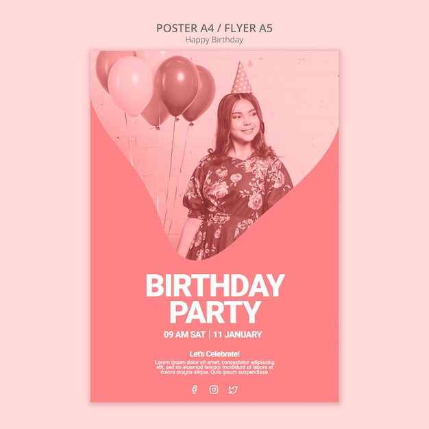 Happy birthday poster template Free Psd