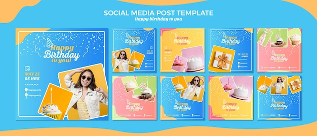 생일 축하 소셜 미디어 게시물 템플릿 프리미엄 PSD 파일