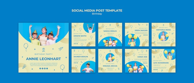 생일 축하 소셜 미디어 게시물 무료 PSD 파일