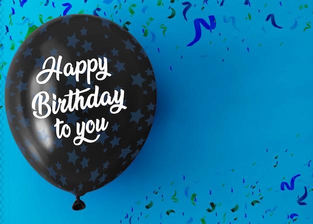 С днем рождения на воздушном шаре с копией пространства и конфетти Бесплатные Psd