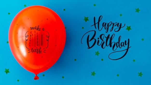 С днем рождения с конфетти и воздушным шаром Бесплатные Psd