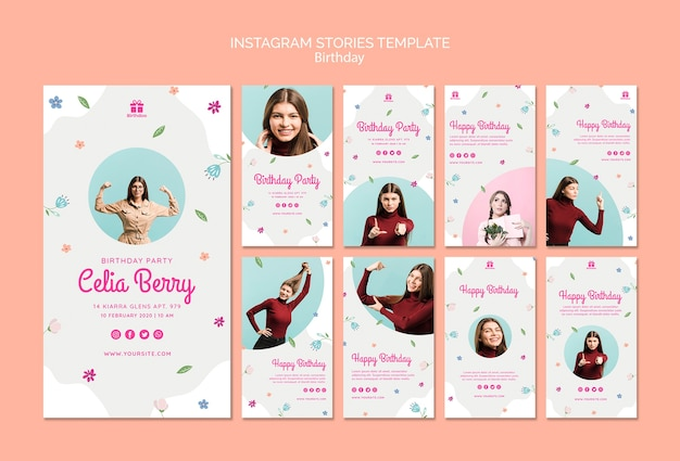 Happy birthday with young woman instagram stories Free Psd