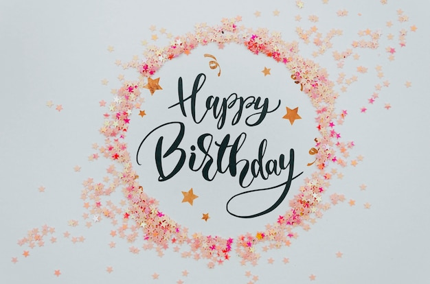 Happy birthday to you pink circular frame of confetti Free Psd