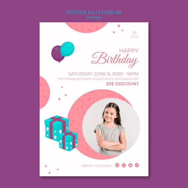 전단지 템플릿-생일 축하하는 어린 소녀 무료 PSD 파일