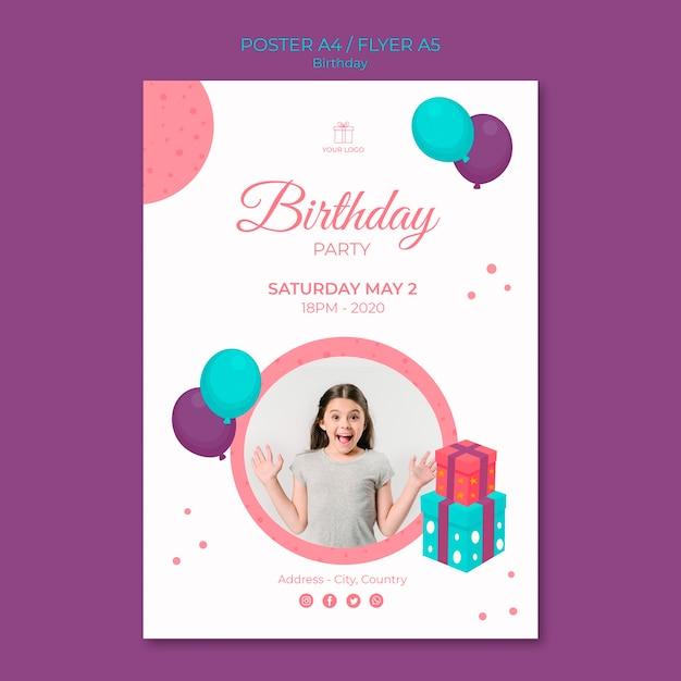 Modello del manifesto della ragazza di buon compleanno Psd Gratuite