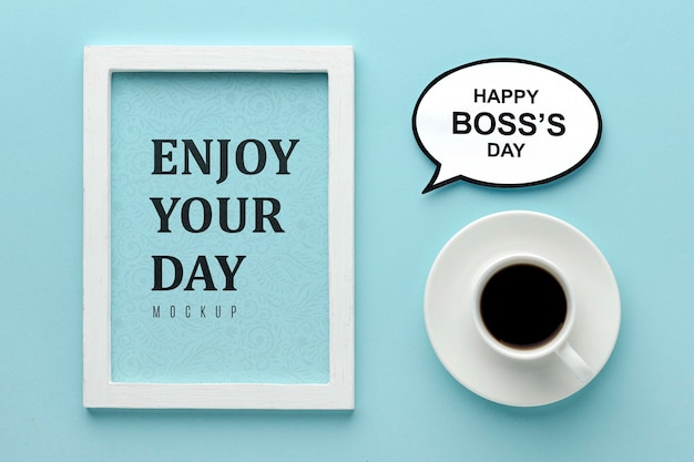 Happy boss's day with coffee and frame Free Psd