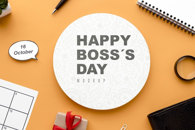 Happy boss's day with desk top and present Free Psd