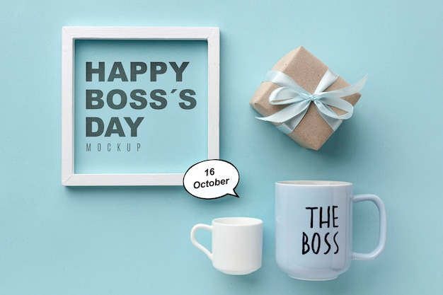 Happy boss's day with frame and present Free Psd