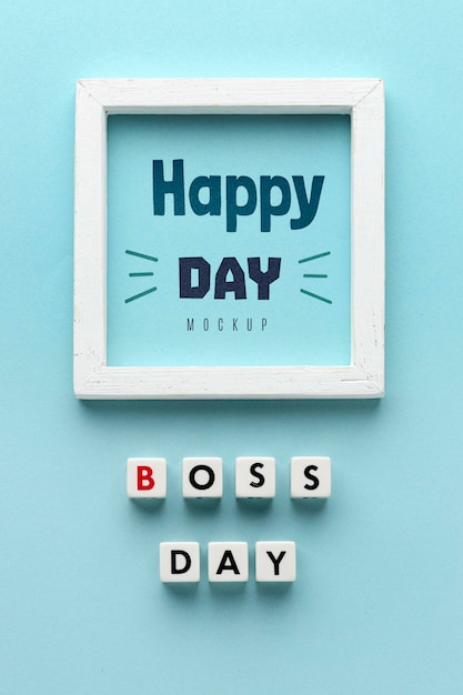 Happy boss's day with frame Free Psd