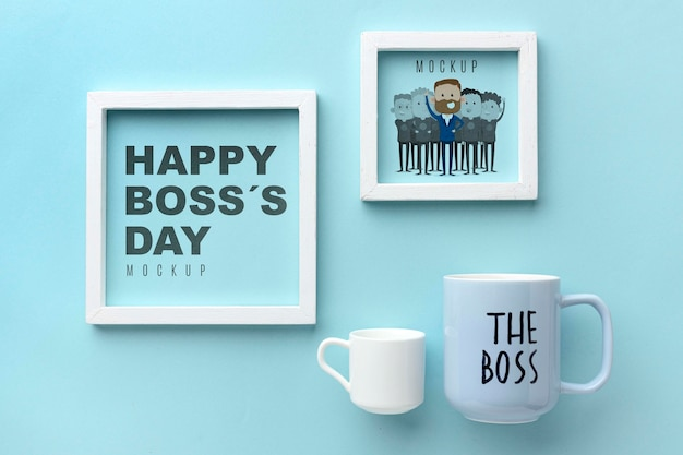 Happy boss's day with frames and mugs Free Psd