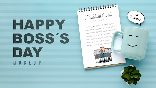Happy boss's day with mug and plant Free Psd