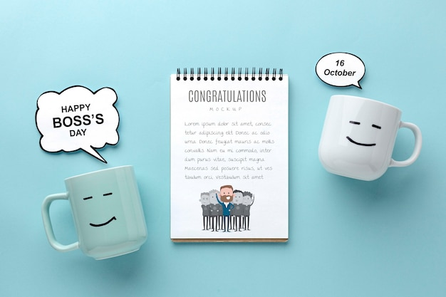Happy boss's day with mugs and notebooks Free Psd