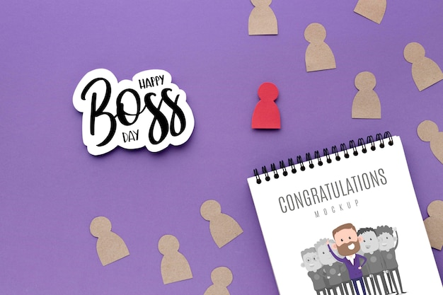 Happy boss's day with notebook Free Psd