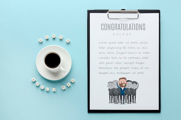 Happy boss's day with notepad and coffee Free Psd