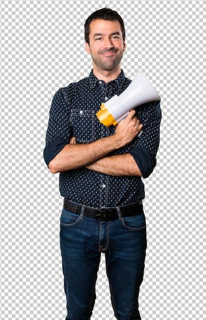 Happy brunette man holding a megaphone Premium Psd