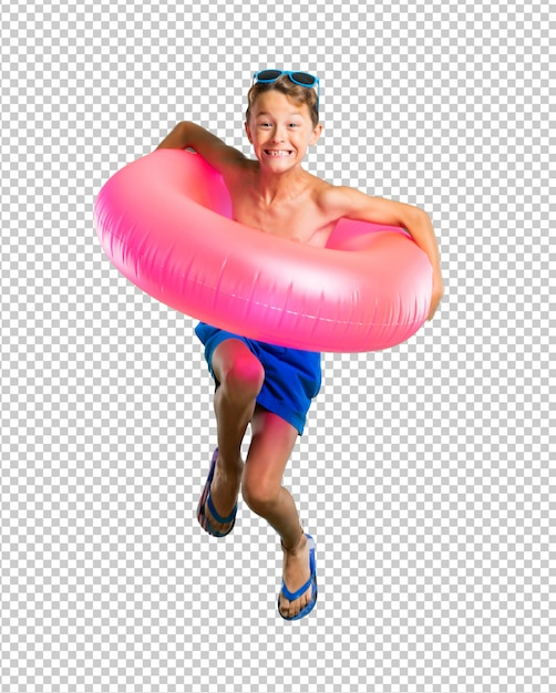 Happy child on summer vacation jumping Premium Psd