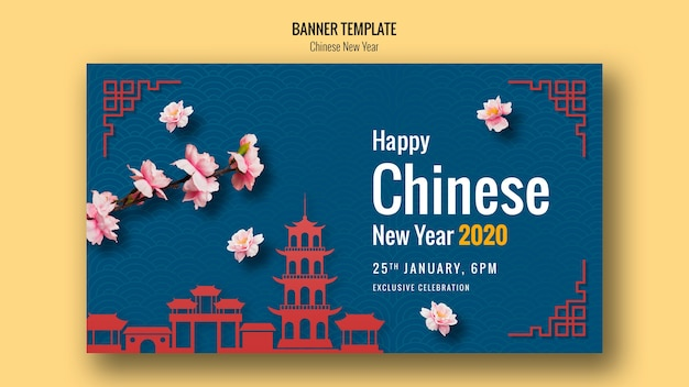 Happy chinese new year banner with architecture Free Psd