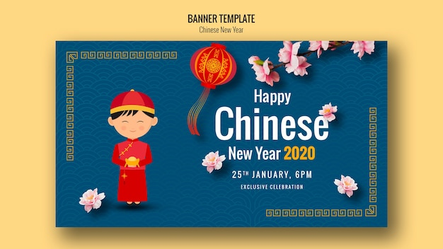 Happy chinese new year banner with lantern Free Psd