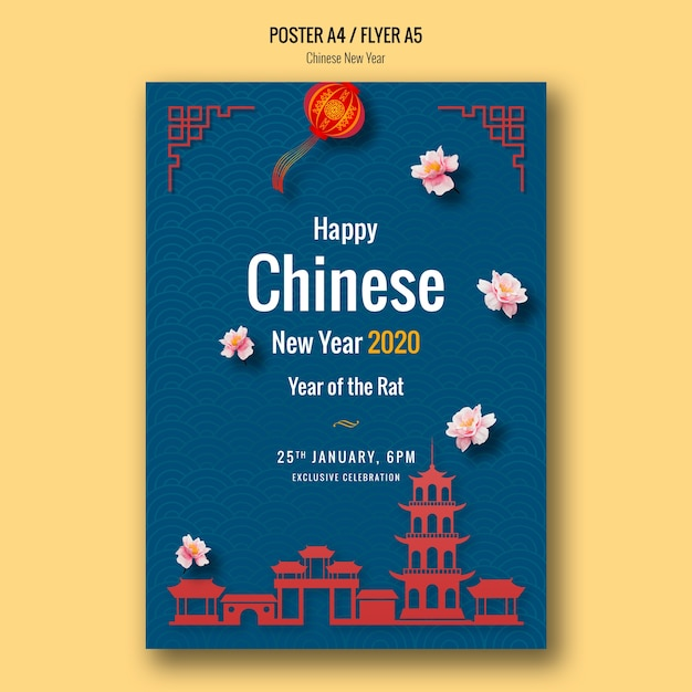 Happy chinese new year poster with buildings Free Psd