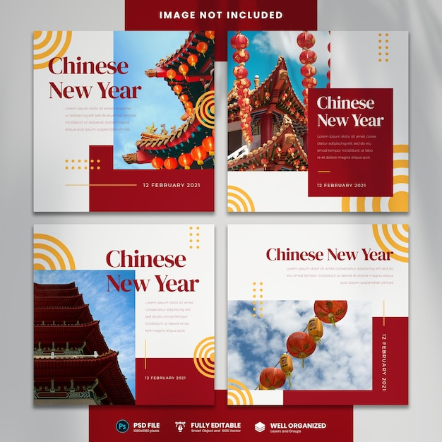 Happy chinese new year social media template Premium Psd