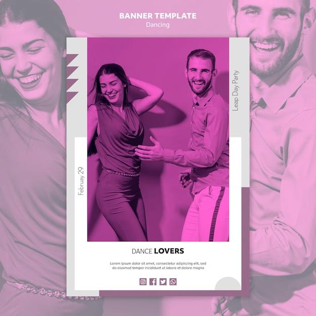 Шаблон баннера счастливых любителей танцев Бесплатные Psd