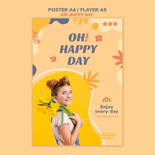 행복한 하루 개념 전단지 디자인 무료 PSD 파일