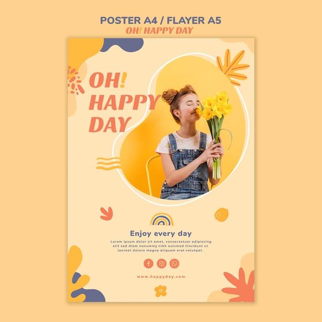해피 데이 컨셉 포스터 스타일 무료 PSD 파일
